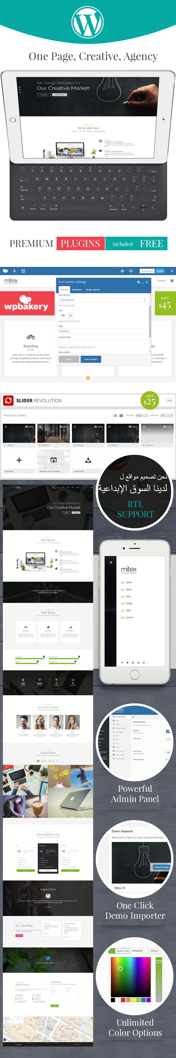 Mitex – One Page WordPress Theme, Gobase64