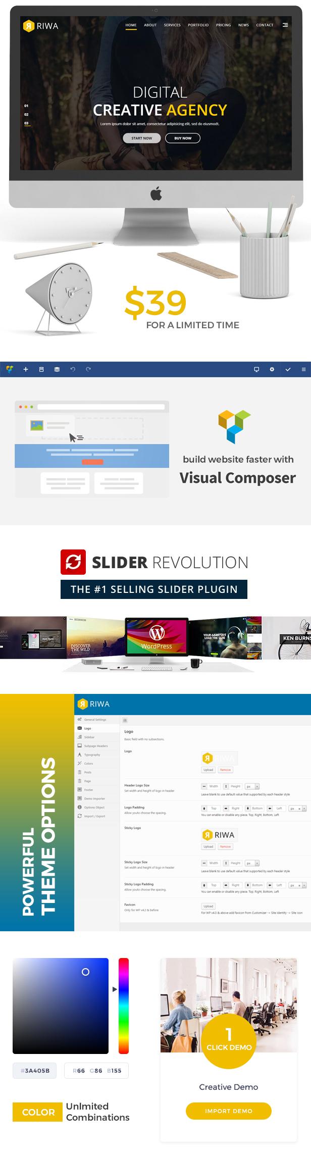Riwa - One Page WordPress Theme